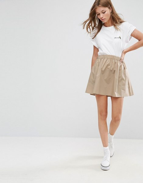 "Asos Mini Skater Skirt in Cotton Poplin with Pockets in beige - """"Skirt by ASOS Collection, Woven cotton, High rise,..."