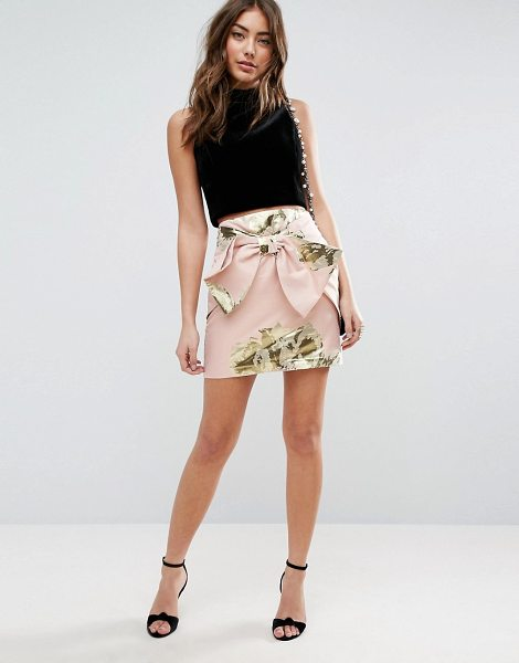 ASOS DESIGN ASOS Mini Skirt in Metallic Jacquard with Bow Detail in pink - Mini skirt by ASOS Collection, Lightweight woven fabric,...