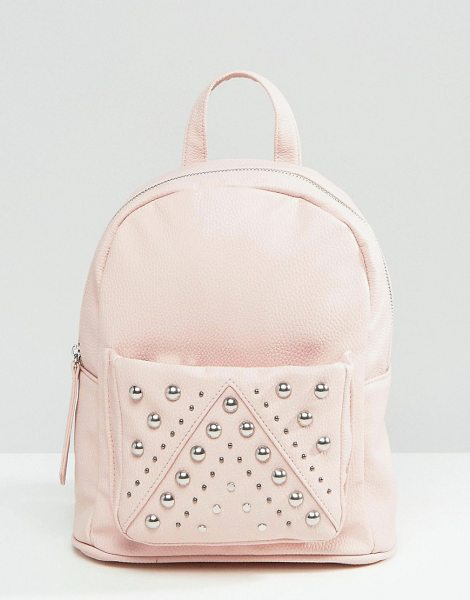 ASOS Mini Studded Backpack in pink - Backpack by ASOS Collection, Faux leather outer, Single...