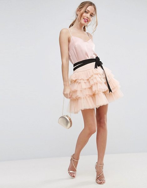 """Asos Mini Tulle Skirt with Grosgrain Tie in pink - """"""""Mini skirt by ASOS Collection, Lined tulle, High-rise..."""