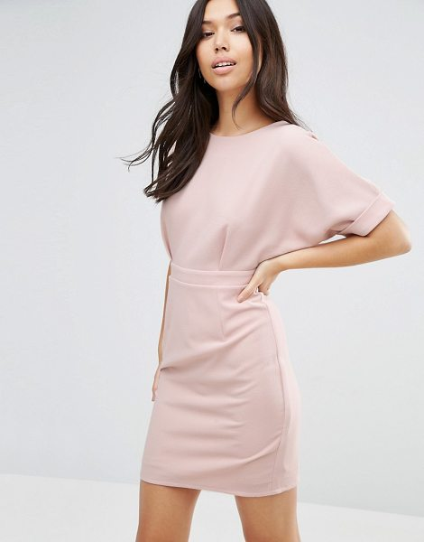 """ASOS DESIGN mini wiggle dress in nude - """"""""Dress by ASOS Collection, Lined woven fabric, Crew..."""