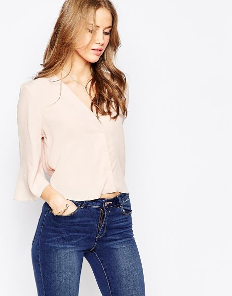 Asos Minimal Deep V Blouse in pink - Blouse by ASOS Collection, Soft-touch lightweight...