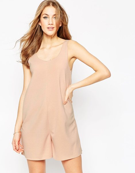 Asos Relaxed lounge romper in nude rib in pink - Romper by ASOS Collection, Ribbed jersey, Scoop...