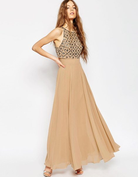 Asos Mirror Crop Top Maxi Dress in pink - Maxi dress by ASOS Collection, Woven fabric, Embellished...