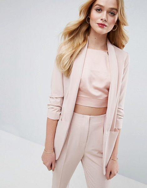 "ASOS Mix & Match Blazer with Rouched Sleeve in pink - """"Blazer by ASOS Collection, Smooth woven fabric, Padded..."