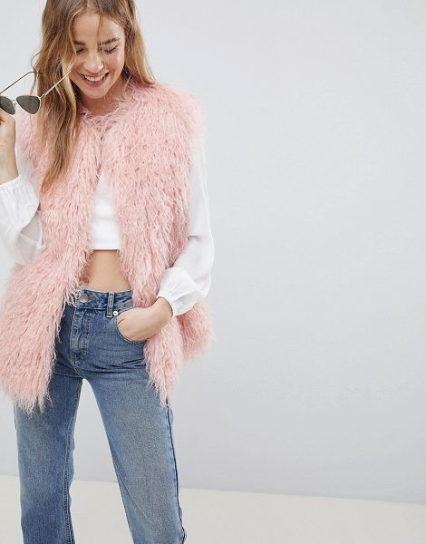 ASOS DESIGN mongolian faux fur vest in pink - Jacket by ASOS DESIGN, It'll see you through those...