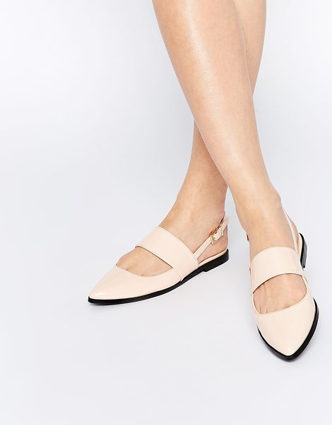 Asos MOTION Pointed Flat Shoes in beige - Flat shoes by ASOS Collection, Leather-look upper,...