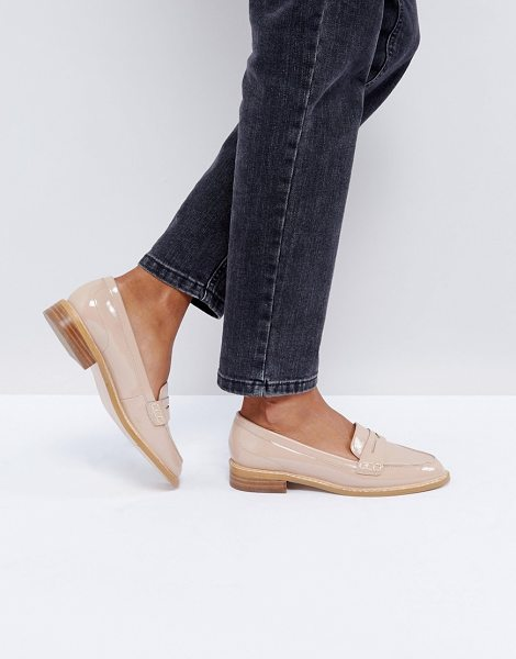 Asos MUNCH Loafer Flat Shoes in nudepatent - Flat shoes by ASOS Collection, Slip-on style, Penny...