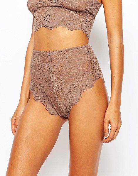 Asos Mya Lace Highwaist Pant in pink - Briefs by ASOS Collection, Sheer lace, High-rise waist,...
