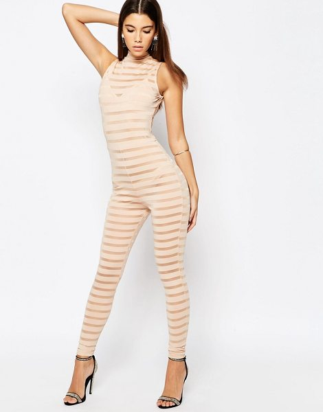 ASOS NIGHT Self Stripe Jersey Unitard - Unitard by ASOS Collection, Sheer paneled jersey, High...