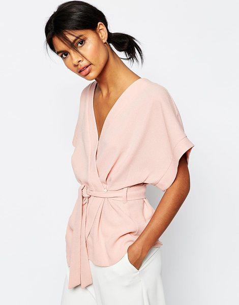 Asos Obi band wrap blouse in dusty pink - Blouse by ASOS Collection Lightweight woven fabric...