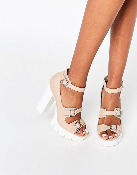 "ASOS OBVIOUS Chunky Heeled Sandals in beige - """"Sandals by ASOS Collection, Faux leather upper,..."