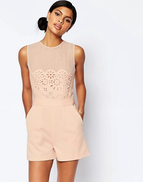 Asos Occasion Laser Cut Romper in pink - Romper by ASOS Collection, Smooth woven fabric, Round...