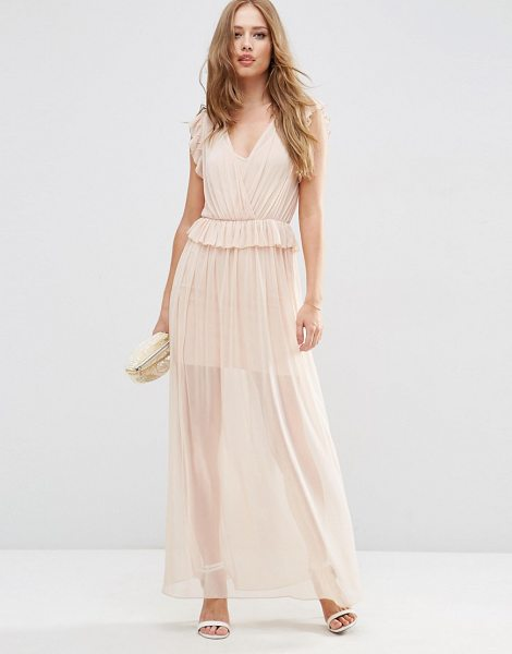 ASOS Occasion Mesh Ruffle Maxi Dress - Maxi dress by ASOS Collection, Pleated semi-sheer...