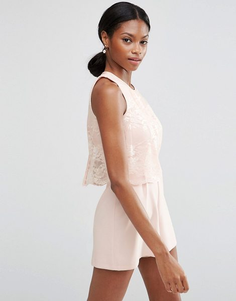 f5bc95edee Asos Occasion pretty lace overlay playsuit in blush - Romper by ASOS  Collection Lightweight woven fabric