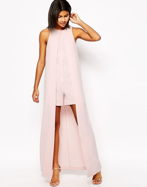 ASOS Occasion Romper with Maxi Cape Detail in pink - Romper by ASOS Collection, Unlined crepe fabric, Crew...