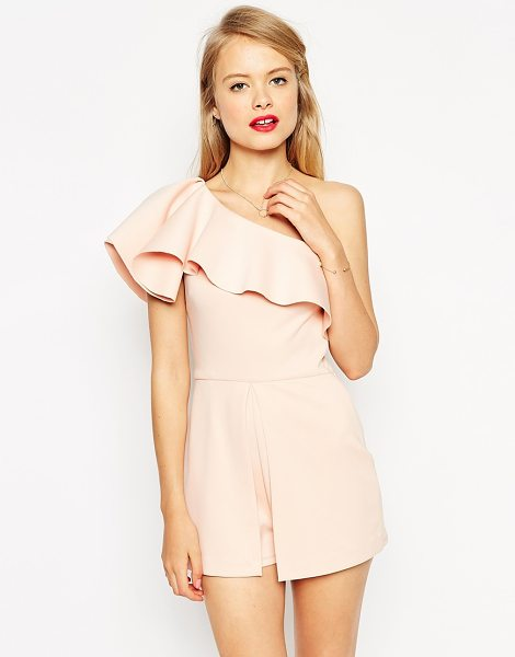 Asos Occasion romper with one shoulder ruffle in nude - Romper by ASOS Collection Mid-weight scuba fabric One...