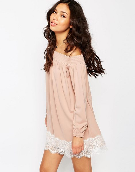 Asos Off Shoulder Dress in Crepe with Eyelash Lace Hem in pink - Casual dress by ASOS Collection, Lightweight woven...
