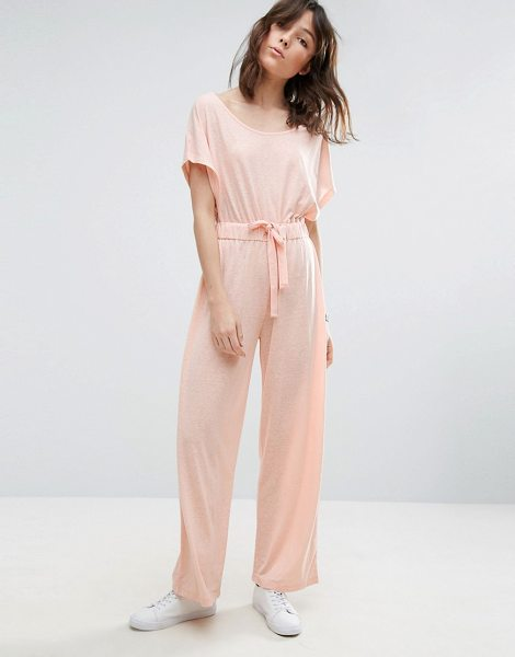 Asos Off Shoulder Jersey Jumpsuit in Slouchy Burnout in pink - Jumpsuit by ASOS Collection, Soft-touch jersey, Burnout...