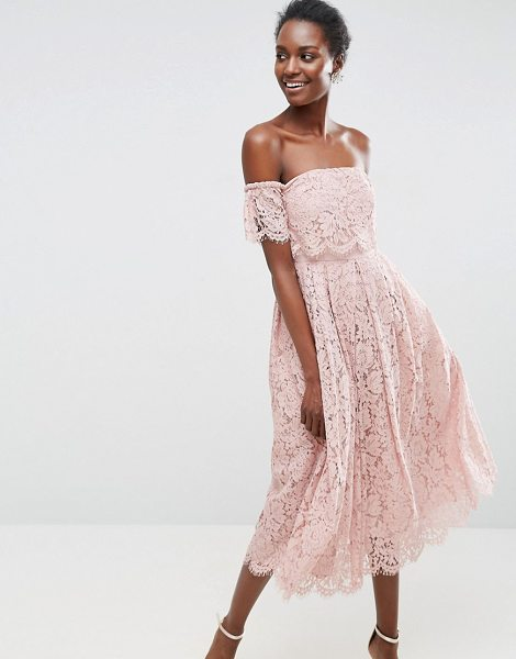 Asos Asos Off The Shoulder Lace Prom Midi Dress | Nudevotion