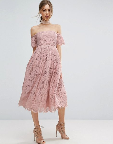 """ASOS Off the Shoulder Lace Prom Midi Dress - """"""""Midi dress by ASOS Collection, Lined lace, Tulle..."""