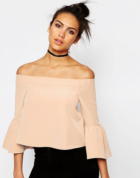 Asos Off The Shoulder Top With Ruffle Sleeve in beige - Top by ASOS Collection, Stretch jersey, Bardot neckline,...