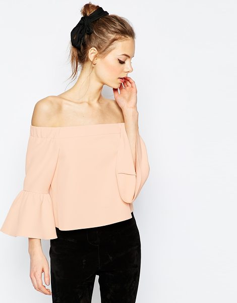 Asos Off The Shoulder Top With Ruffle Sleeve in pink - Top by ASOS Collection, Lightweight woven fabric, Bardot...