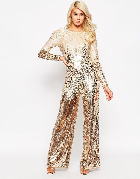ASOS Ombre stripe sequin jumpsuit in bronze - Jump suit by ASOS Collection Sequin embellished fabric...