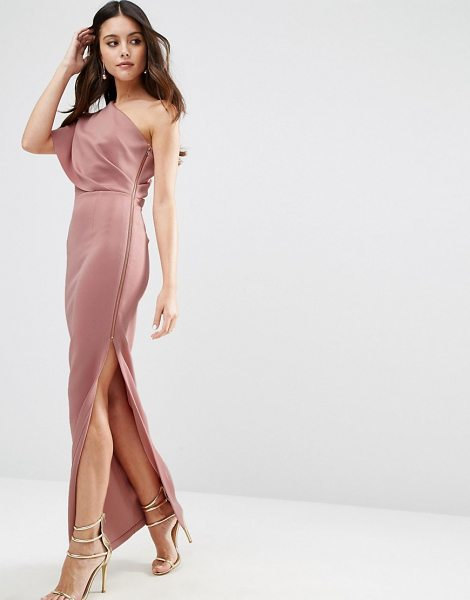 "Asos asos one shoulder scuba deep fold maxi dress with exposed zip in mink - """"Maxi dress by ASOS Collection, Scuba fabric,..."