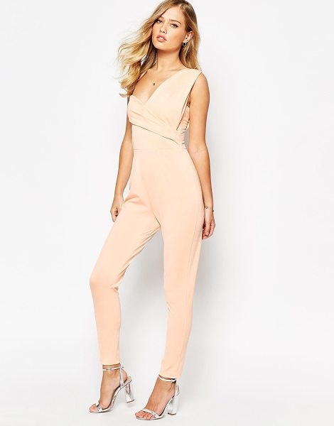 Asos One Shoulder Drape Jumpsuit in beige - Jumpsuit by ASOS Collection, Mid-weight crepe, Lined...