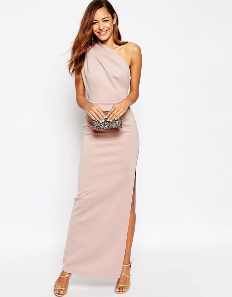 Asos One Shoulder Maxi Dress with Exposed Zip in pink