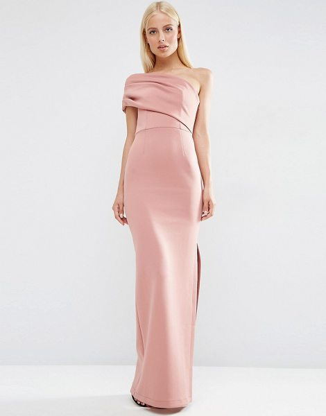 "Asos One Shoulder Bardot Scuba Maxi Dress with Exposed Zip in pink - """"Maxi dress by ASOS Collection, Stretch scuba,..."