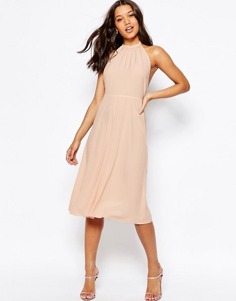 Asos Open Back Midi Dress in pink - Midi dress by ASOS Collection, Lightweight crepe, High...