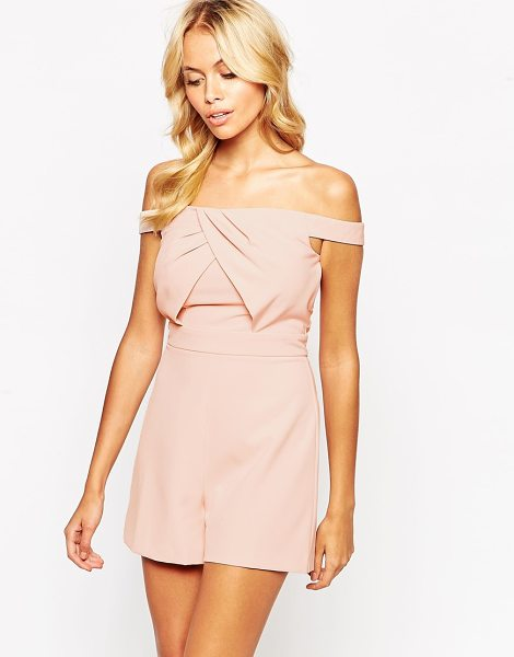 Asos Origami bardot romper in pink - Romper by ASOS Collection, Soft-touch woven fabric,...