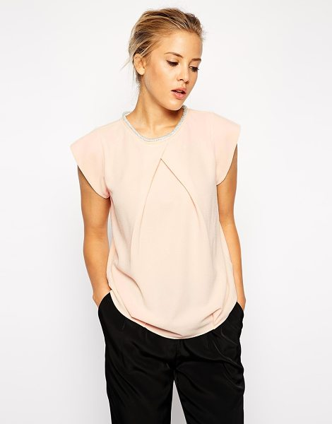 Asos Origami tshirt with embellished neckline in nude - T-shirt by ASOS Collection Lightweight crepe fabric Bead...