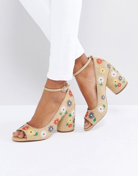 "Asos ORNAMENT Embroidered Peep Toe heels in beige - """"Shoes by ASOS Collection, Textile upper, Ankle-strap..."