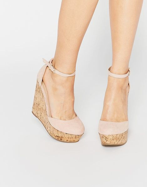Asos OVAL Wedges in beige - Wedges by ASOS Collection, Faux-suede upper, Barely...