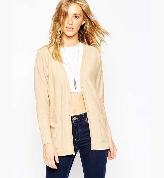 Asos Oversized cardigan in fine knit in camel - Cardigan by ASOS Collection Lightweight fine knit...