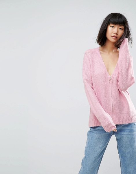 ASOS DESIGN asos oversized cardigan with zip front in pink - Cardigan by ASOS Collection, Super-soft-touch knit,...