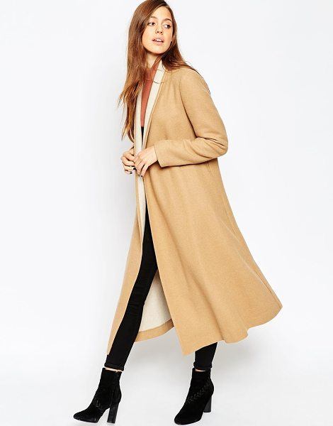 ASOS Oversized Coat with Contrast Shawl Collar in stone - Coat by ASOS Collection, Wool mix fabric, Open front,...