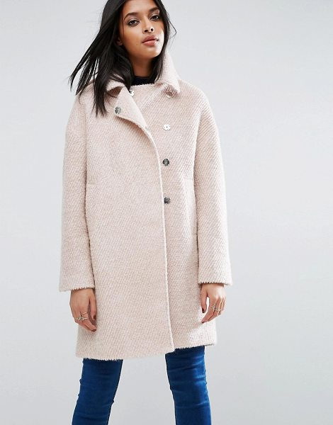 ASOS Oversized Cocoon Coat with Funnel Neck in wool Mix and Boucle Texture - Coat by ASOS Collection, Textured wool-mix knit, Funnel...