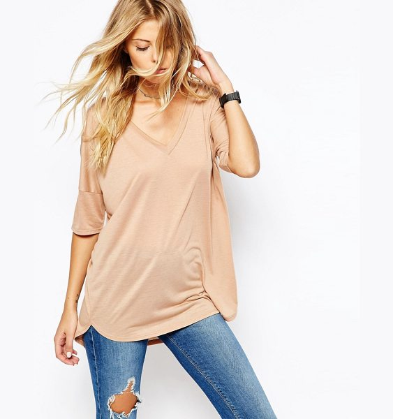 Asos Oversized Top With V- Neck and Dip Back in pink - T-shirt by ASOS Collection, Soft-touch jersey,...