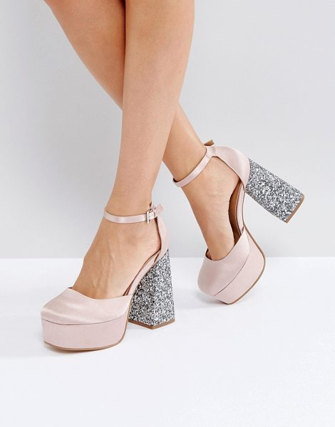 "Asos PAINT THE TOWN Platform Heels in beige - """"Heels by ASOS Collection, Textile upper, Ankle-strap..."