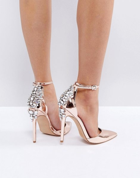 """ASOS PALAIS Embellished High Heels in gold - """"""""Shoes by ASOS Collection, Metallic upper, Ankle-strap..."""