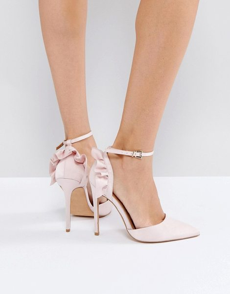 Asos PALOMA Frill Pointed High Heels in beige - Heels by ASOS Collection, Textile upper, Ankle-strap...