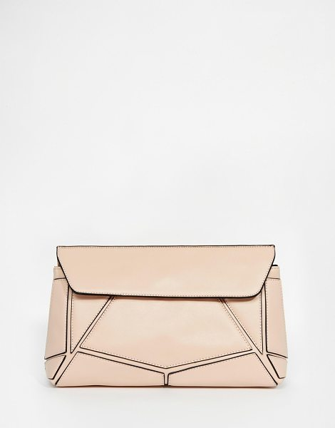 """Asos panel clutch bag in pink - """"""""Clutch bag by ASOS Collection, Smooth leather-look..."""