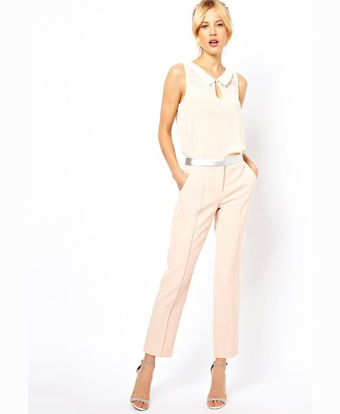 Asos Pants with metallic waistband in beige