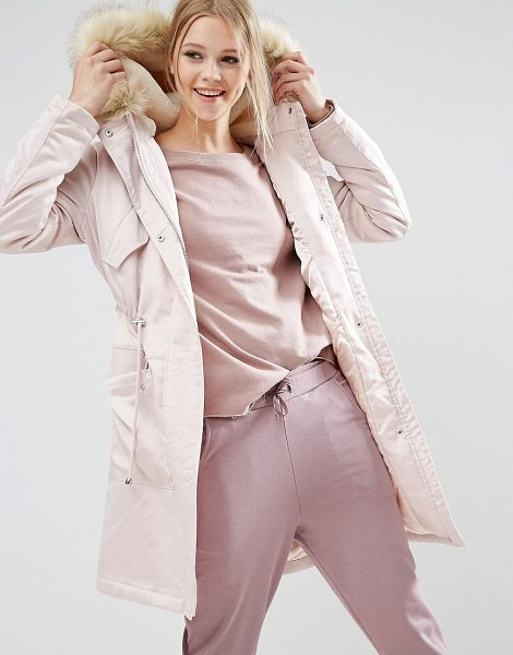 Asos Parka in Satin in pink - Parka by ASOS Collection, Woven satin, Faux fur hood,...