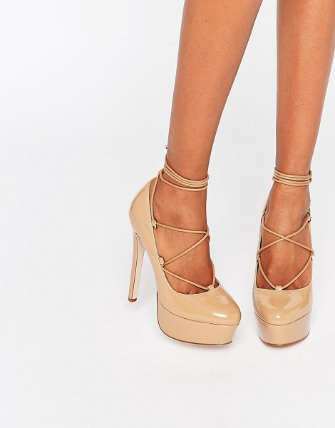 ASOS PARTY ALL NIGHT Lace Up Platforms in beige - Heels by ASOS Collection, Patent leather, Almond toe,...