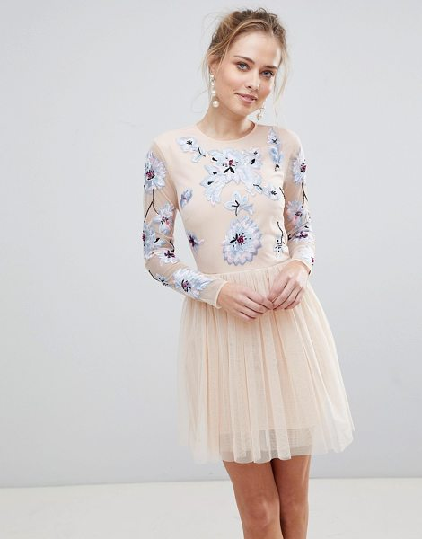 ASOS DESIGN pastel embroidered tulle mini dress in pink - Dress by ASOS Collection, Be the best-dressed guest,...